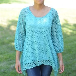 Teal Lace Curved Top 3/4 Sleeve